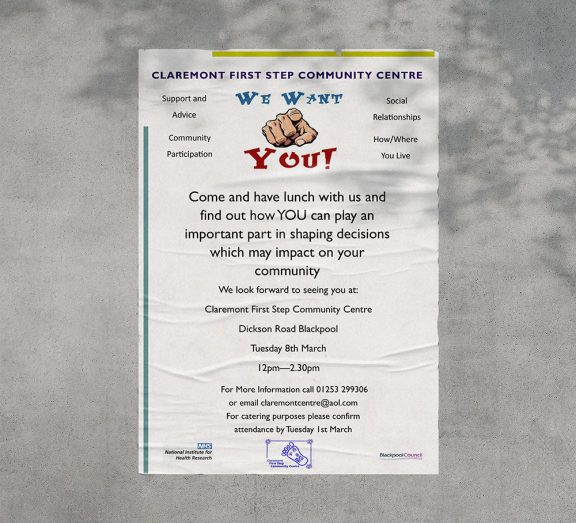 a poster inviting people to come and take part in shaping community decisions