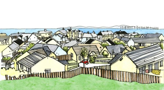 a illustration of a village, near the sea, with windmills in the sea
