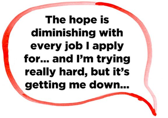 a speech bubble containing text about the difficulites of getting a job