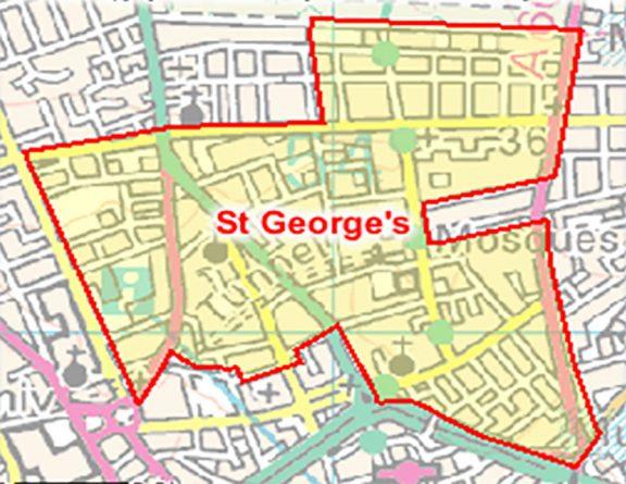 Map of St. George's ward in Preston