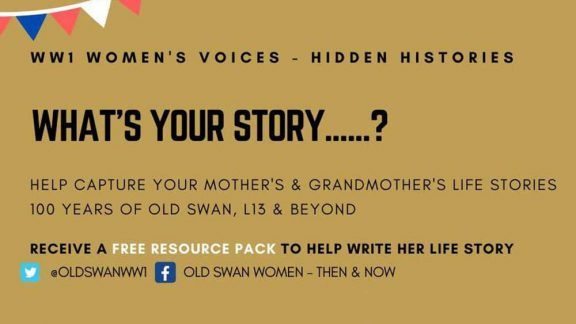 a poster inviting people to help capture mother's and grandmother's stories