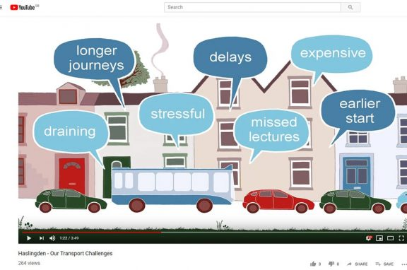 a screen shot of a video listing challenges people face surrounding transportation