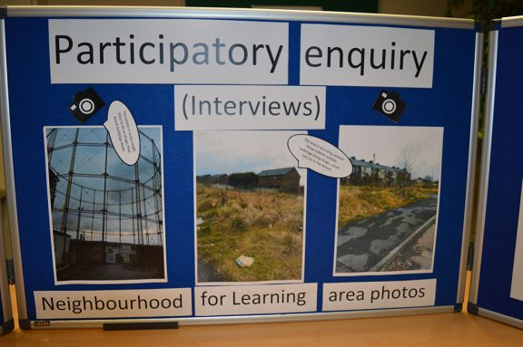 a display showing topics to interviewing the public