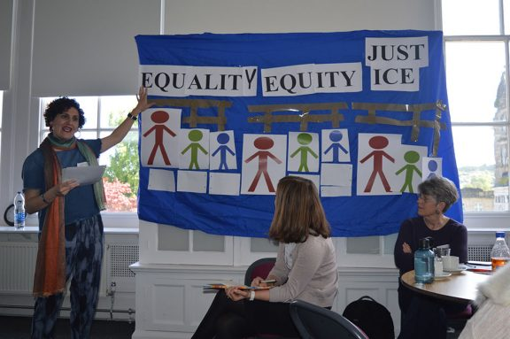 a display in the community centre showing the three pillars of Equality, Justice and Equity