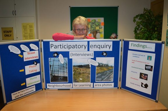 a display in the community centre regarding interviews with the community