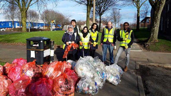 members of the community post litter pick
