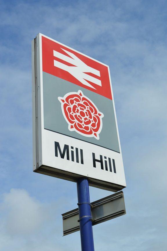 Mill Hill trainstation sign