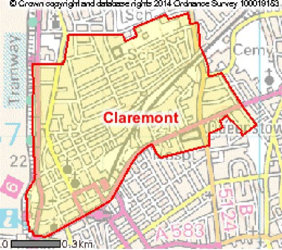 Map of Claremont ward in Blackpool